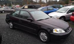 Make Honda Model Civic Coupe Year 2000 Colour Black kms 320000 Trans Automatic This little Coupe is clean both inside and out, great on gas with only a small 1.6L 4 Cylinder engine that runs great, has 320,000 kms, safety inspected and car proof verified,
