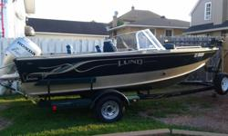 2006 90 hrp honda 4 stroke ,minkota i-pod with remote,hummingbird fishfinder,with GPS stario,2 live wells 1 bait well ,font bow cushions ,3 12 volt batteries, cb radio, full enclosed top ,will negotiate for 14' deep & wide aluminum boat with 20 to 30 4