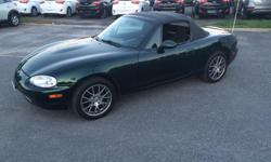 Make Mazda Colour Dark Forest Green Trans Manual kms 164700 2000 MX5 Miata....Not Certified. but can be easily. 5 Speed Manual NO NO NO Air-conditioning.....its a soft top lol Power Windows and Mirrors Glass Rear Window with Defrost in Soft Material Top