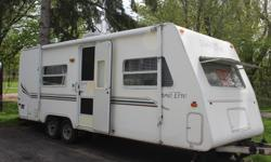 This trailer has been gently used. It only wheighs 3500lb so it can be towed with a mini van or a small SUV. It comes with a weght distribution hitch. It has a gas/electric refrigerator, AC, toilet, small shower, water heater. It can sleep 3 with a full
