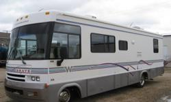 In Excellent condition, this motorhome sleeps 6, comes with gas stove and oven, fridge,  microwave with hood, 4-piece bath, tv, vcr, am/fm radio, cd player, awning, gen-set, outdoor shower and stereo and have plenty of storage.   Are you interested? Call