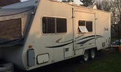 2001 Cub hybrid in good condition but requires some TLC. There was a leak in the bathroom and some portions of the floor. Two end pop outs, one queen, one double. Dinettes that fold into beds and couch that folds to bed Sleeps 5-8 people comfortably.