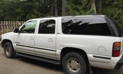 Make GMC Colour White Trans Automatic kms 363000 2001 GMX Yukon XL. Fully loaded. Leather seats, AC, Sunroof, CD player and captains chairs. Seats 7. Three across back with removable seat. Exterior and interior in good conditions. Front bumper has a dent.