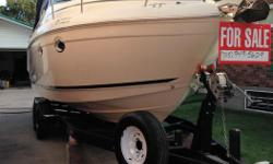 Meticulously maintained 2001 Rinker 270 Fiesta Vee with under 300hrs in fresh water only! 350cbi Bravo III outdrive. Sleeps 6 (4 below, 2 above). Seasonally winterized for indoor storage. Includes custom double axel trailer - with new tires + spare. This