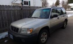 Make Subaru Model Forester Year 2001 Colour Grey kms 200000 Trans Automatic Subaru Forester for sale in good running condition, is very clean inside and in good shape, needs a windshield, has good tires. Selling AS IS asking $1000 OBO. Pls call Fred