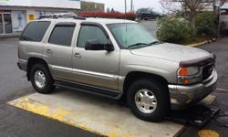 Make GMC Colour Grey Trans Automatic kms 245732 2002 GMC Yukon SLT 4x4 with the works. Extendable trailer mirrors leather interior fully loaded sunroof new tires roof rack 3rd row seating 7-passenger vent visors K&N cold air intake . Great car for those