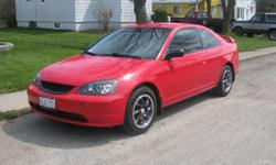 Make Honda Year 2002 Colour Red Trans Manual kms 174000 REDUCED: 2002 Honda Civic 2 door coupe. Excellent condition and well maintained. 5 speed manual transmission. All new pioneer audio AM/FM CDplayer USB, tinted windows, new headlights and grill. Oil