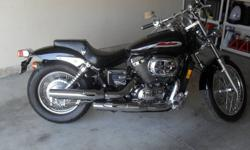 """Mint Condition ! Honda Shadow """"Spirit"""" 750cc, Only 12,871 Kms ! Lots of Chrome, all original, drag bars, great looking bike! Comes with backrest, windshield & cover. Asking $4500.00 OBO. Please Call 905-353-1767"""