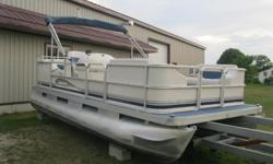 """Another new arrival just came in July 20th 2002 Sweetwater 18' Pontoon Boat with an older /80's/90's Evinrude 48 Special on it. * Boat 18' long x 8 """" wide * Full furniture which is good no rips or tears, seats 10+, * Previous owner used armoral on the"""