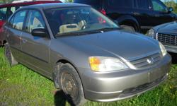 DISMANTLING 2003 HONDA CIVIC FOR PARTS, 5 SPEED, AIR, POWER DOORS, REAR END DAMAGE, FRONT END IN VERY GOOD CONDITION, STARTS AND DRIVES, 198K, SELLING PARTS OR COMPLETE CAR, $1100 NEGOTIABLE, REASONABLE PARTS PRICES, (613)761-0359.