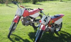 2003 Honda XR 70, mint condition, $1250....2000 Honda XR 100, excellent condition, $1100....both bikes run terrific....reliable 4 stroke engines....rarely driven....$2250 for both....not enough space or enough time to ride....2 sharp looking helmets and