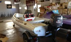 Triumph 120 CC New Boat Ropoline construction (unsinkable and indestructable) 1999 Used 35 hp Johnson Electric Start Tilt and Trim Seats three Perfect for Yacht tender, Young fishermen, Island cottage or a quick trip to beach.     Price  $7,900.00