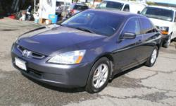 Make Honda Model Accord Sedan Year 2004 Colour Grey kms 156000 Trans Automatic Quality, Value, Sale, Finance, Lease, Warranty, Parts, since 1990, 2004 Honda Accord, Trim: EX-L KM: 156000 Body Style: Sedan Color: Dark Grey Interior Color: Black