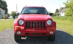 Make Jeep Model Liberty Year 2004 Colour Red kms 239000 Trans Automatic 2004 Jeep Liberty Limited 4X4 3.7L auto 160,000 on replacement engine. Cruise, tilt, a/c, lift kit, K&N air filter, performance exhaust, tow hitch, good running condition. Not