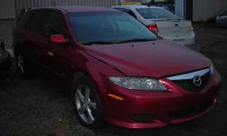 """Make Mazda Model 6 Year 2004 Colour RED kms 216244 Trans Automatic 2004 MAZDA 6 FOR SALE, V6, AUTO, AIR, POWER WINDOWS AND DOORS, 16"""" ALU RIMS, BLOWN ENGINE, INTERIOR AND EXTERIOR IN VERY GOOD CONDITION, SELLING A COMPLETE CAR OR PARTS, (613)761-0359"""