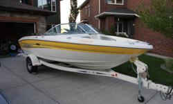 "Yellow/White, L18'6"" W7'6"", 4.3L MerCruiser stern drive, 190hp, 126 hrs, bilge pump, depth finder, swim platform, power steering, snap in carpets, bow rider, storage locker, Sea Ray trailer/break-away hitch. Comes w/ bimini top, extra prop, cockpit and"