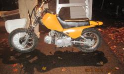 THE BIKE IS CURRENTLY NOT RUNNING. WAS RUNNING LAST WEEK. GOOD FOR PARTS OR A GOOD FIXER UPER! GREAT STARTER BIKE. $100 O.B.O    2005 BAJA DIRT RUNNER 50cc