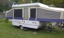 New condition sleeps 8, 1 king, 2 queens and 1 double bed. 3-way Frig, propane furnace, detacable propane stove never used, deep cell battery, sink, 100' of RV power cable, 50' water hose ( white ) never used. This trailer is like new. Rarely used.