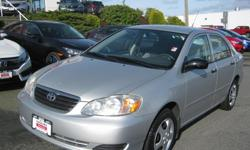 Make Toyota Model Corolla CE Colour Grey Trans Manual kms 106524 This well maintained Corolla with great fuel economy with it's 1.8L, 4 cylinder 7.1 city/ 5.3 Highway. Mechanical inspection complete.Please call or text Dan for more detail 250 802 6042.