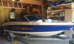 135 horsepower 3.0 liter mercruiser 17ft. Tinted blue Windows. New bucket captain chair. Rod holders and fish finder. wakeboard tower took off to fit in garage. 4 speakers and amp, 2 speakers have blue LED lights in them. Factory radio/aux no cd. All