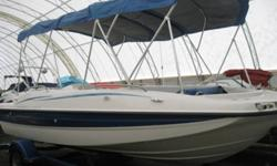 MERCURY 3.0L, 130HP, BIMINI COVER, DEPTH FINDER, LADDER, AM/FM/CD, BLUE & WHITE EXTERIOR...INCLUDES TRAILER   www.1000islandsrv.com
