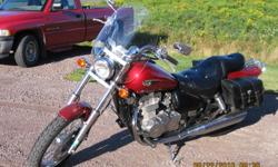 This bike  had two owners,the first one only put on 1800 kms.The second owner,me,bought it in 2009,lady driven the rest of the kms. on it .It is a great starter bike to learn on.It is in mint condition.It also comes with a windshield,saddlebags and a bike