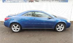 Make Pontiac Model G6 Year 2006 Colour Blue kms 89415 Trans Automatic Price: $10,900 Stock Number: 7624 VIN: 1g2zm361264277624 Interior Colour: Black Engine: 3.8 Cylinders: 6 WOW SUPER RARE GTP RETRACTABLE HARD-TOP CONVERTIBLE AMAZING SHAPE, FIRST I HAVE