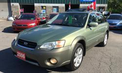Make Subaru Model Outback Year 2006 Colour Green kms 184000 Trans Manual NO ACCIDENTS! CLEAN CARPROOF! ALL WHEEL DRIVE! AM/FM Stereo, Air Conditioning, , Sun Roof, Dual Airbag, Intermittent Wipers, Keyless Entry, Power Brakes, Power Steering, Power