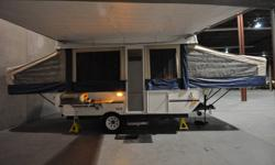 Selling our beloved tent trailer.   The details are as follows:   2007 Flagstaff 228 by Forest River.   Box Size: 12 ft. (3.7 m) GVWR: 3,077 lbs. (1,396 KG ) (Easily towed by Minivan / Jeep) - 1 Piece Drop-Down Screen Door - Sleeps 6 - Exhaust Fan - 3 way
