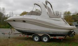 2007 Four Winns 278 Vista : 5.7 GXI/DP Volvo Penta, AC/HEAT, Windlass, Cushion Aft Fill-In, Radar Arch, Deck Sunpads, Light Spot/ Flood w/ Remote/flat screen TV,Boat is like new with only 110 hrs and comes with matching trailer.