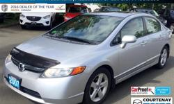 Make Honda Model Civic Year 2007 Colour Alabaster silver met. kms 174947 Trans Manual Price: $6,999 Stock Number: P4228A Interior Colour: Grey Fabric Sunroof - 5 Speed Manual - Cruise Control - Are you the lucky parent of a new driver? Have you been being
