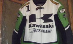 kawasaki ninja joe rocket jacket very nice hardly use size 46 like new $225.00 or best offer [ leather ]