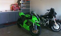 2007 Kawasaki zx6r Ninja ( Monster Edition) UpGrades Dunlop Q2 Tires Two Brothers Racing Exhaust Power Commander Driven 520 Gold Chain & Sprocket K&N Air Filter CRG Clutch Lever ZX Bar Ends Driven Grips Powder Coated Downpipe on Exhaust Powder Coated Foot