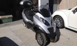 This is a highway scooter capable of 110 KPH. Motorcycle licence required. 10400 Km. Beat most any car away from a light on this baby. Averages 70 MPG regardless of in town or on the highway. Accessory custom top box and Laminar Lip wind deflector. Also