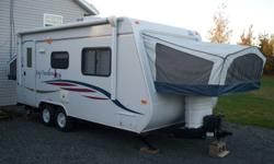"""light weight hybrid trailer, sleeps 6-8, full kitchen(oven, stove, microwave, double sink, fridge, freezer) full bathroom(toilet, sink, tub, shower) dining table, couch, gas-electric waterheater, mounted 21"""" flat screen tv, radio-cd player, air"""