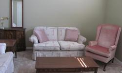 COMPLETE Living Room Set with couches, side chair, end tables, coffee table, cabinet with mirror and MORE!!!