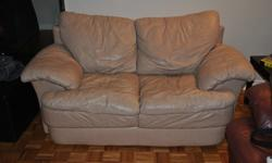 """Light brown, leather loveseat for sale. 68"""" wide. Great condition, slight wear and tear in the seems (not directly visible) Deep brown 3 seat leather couch (68"""" wide) also available. Will entertain offers for both. Must be able to pick up couch, cannot"""
