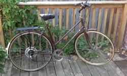 Retro Raleigh Sprite for sale. Great condition.55 cm frame.5-speed.Not the original handle bars. I replaced them last year.Wide saddle. Might be original.Head lamp and rack included.Brown in color.This is a great bike for commuting and joy rides. I am