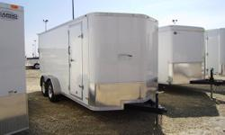 """STOCK# CX010...7000# TANDEM TORSION...3/4"""" ADVANTECH FLOOR...FIXED SIDE VENTS...LIGHT WEIGHT RAMP DOOR WITH LIGHT DUTY SPRING ASSIST...24"""" GRAVEL GUARD...12 VOLT DOME LIGHT WITH WLAL SWITCH...V-NOSE FRONT...ALUMINUM WHEELS...FOR MORE INFO CALL WILF'S ELIE"""