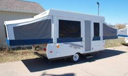 Brought from new ,Excellent condition Bbq, 2 burner stove, Am Fm Cd player indoor out door speakers, Outside shower, Screen room and plug in light fans, Furnace, 3 way Fridge, 2 Dinettes. We are looking for a Travel Trailer that sleeps 6 comfortbly and is