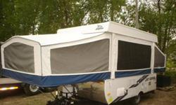 10 Foot Pop up Trailer Excellent Conditions used 8 times - bought May 2010 brand new Sleep 6-8   INCLUDED: - Water Heater - 3 way Fridge - Electronic forced air propane Furnace - Built in stabilizer Jacks - Hydraulic Brakes - Inside/outside stove -
