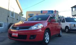 Make Nissan Model Versa Hatchback Year 2010 Colour Red kms 125193 Trans Manual HELLLLOO OTTTAWAA! NICE AND CLEAN - AMAZING ON GAS! AM/FM Stereo, Air Conditioning, CD Player, Dual Airbag, Intermittent Wipers, Keyless Entry, Power Brakes, Power Mirrors,