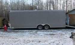"""24 feet long 6.5 inches extra height 2- 3500 Lb. axles 2 5/16"""" ball GVRW 7000 Lbs. dry weight 3388 Lbs. one side door full rear ramp door (spring loaded) single vent indoor lighting 15"""" tires (ST205/75R15/C) Only 6000 km   Please give us a call or drop us"""