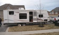 2011 Catalina 26BH Weighs about 4500lbs, 28 feet long Bought brand new this year and only used four times. -walk around queen bed in front and jack and jill bunks in back -bath tub, sink and toilet -air conditoner and furnace -range/oven, fridge and