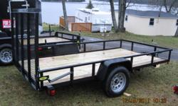 """New 2012 Gator 5X10 utility trailer 15 """" wheels on silver rims and 3000 lb axle Fold down loading ramp, Power coat paint to last. Full size spare included Call 5FishResort   705 857 1754"""