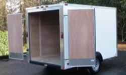 """BASIC 10' CARGO TRAILER WITH DOUBLE REAR DOORS, INTERIOR LIGHT, 3/16"""" PLYWOOD WALL LINER, 3500 LB AXLE, 15"""" RADIAL TIRES AND SILVER POWDER COATED RIMS. ALSO HAS ATP ROCKGUARD ON THE FRONT AND ALUMINUM ATP FENDERS. EMPTY WEIGHT IS 1100 LBS. WITH A PAYLOAD"""