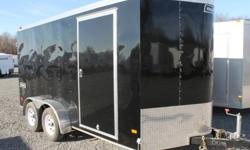 TSTV7X14WT2, V-NOSE CARGO TRAILER, BLACK EXTERIOR COLOUR, REAR BARN DOORS, SIDE ENTRY DOOR, FRONT STONEGUARD, 2 X 12V INTERIOR DOME LIGHTS, 12V SURFACE MOUNT WALL SWITCH, 4 X SQUARE D-RINGS, GVWR 7000LBS, DRY WEIGHT 2125LBS, ELECTRIC BRAKES