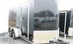 BLACK EXTERIOR COLOUR, REAR BARN DOORS, SIDE ENTRY DOOR, FRONT STONEGUARD, 2 X 12V INTERIOR DOME LIGHTS, 12V SURFACE MOUNT WALL SWITCH, ELECTRIC BRAKES, 4 X SQUARE D-RINGS, GVWR 7000LBS, DRY WEIGHT 2125LBS www.1000islandsrv.com