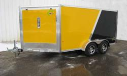2012 All aluminum snowmobile trailer drive in drive out !!! 2012 ALL ALUMINUM SNOWMOBILE TRAILER STANDARD FEATURES - Drop down leg jack with grease nipple built in - Screwless exterior panels - Stainless steel center door latches on both doors - NEVER