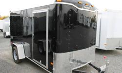 BLACK EXTERIOR COLOUR,  REAR BARN DOORS, SIDE ENTRY DOOR, 2 X 12V INTERIOR DOME LIGHTS, 12V SURFACE MOUNT WALL SWITCH, FRONT STONEGUARD, 4 X SQUARE D-RINGS, GVWR 2980LBS, DRY WEIGHT 1250LBS   www.1000islandsrv.com